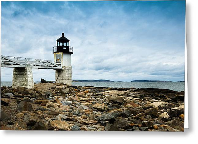 Ocean Images Greeting Cards - Marshall Point Lighthouse panoramic Greeting Card by David Smith