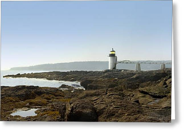Panoramic Ocean Greeting Cards - Marshall Point Lighthouse - Panoramic Greeting Card by Mike McGlothlen