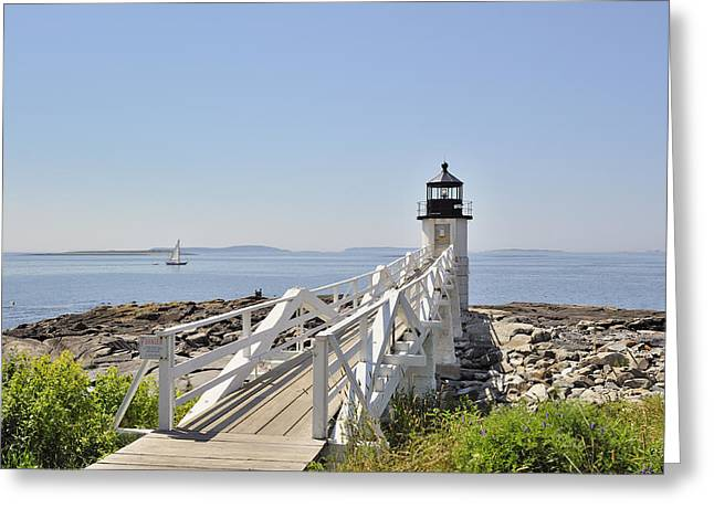 Maine Icons Greeting Cards - Marshall Point Lighthouse Blue Greeting Card by Marianne Campolongo