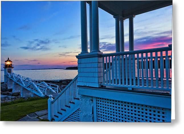 Maine Lighthouses Greeting Cards - Port Clyde Sunset Greeting Card by Diana Powell