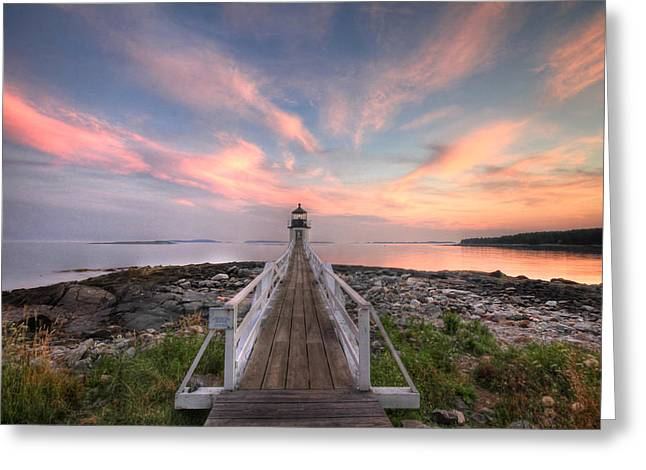 Maine Beach Digital Art Greeting Cards - Marshall Point Sunset Greeting Card by Lori Deiter