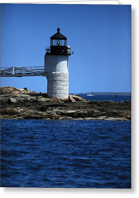 New England Village Greeting Cards - Marshall Point Surrounded by Blue Greeting Card by Karol  Livote