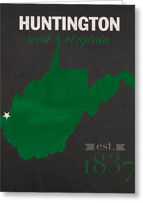Town Mixed Media Greeting Cards - Marshall University Thundering Herd Huntington West VA College Town State Map Poster Series No 060 Greeting Card by Design Turnpike