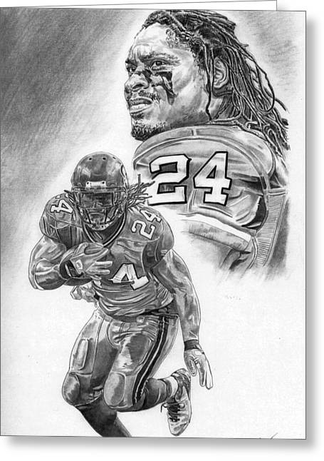Running Back Drawings Greeting Cards - Marshawn Lynch Greeting Card by Jonathan Tooley