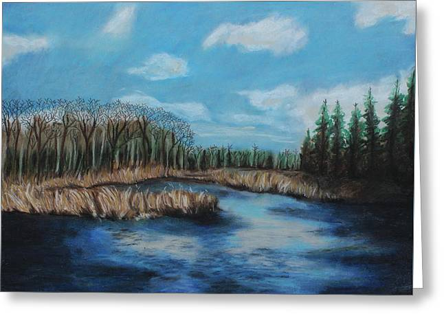 Horizon Pastels Greeting Cards - Marshland 1 Greeting Card by Jeanne Fischer