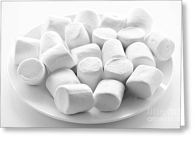 Marshmallows On Plate Greeting Card by Elena Elisseeva