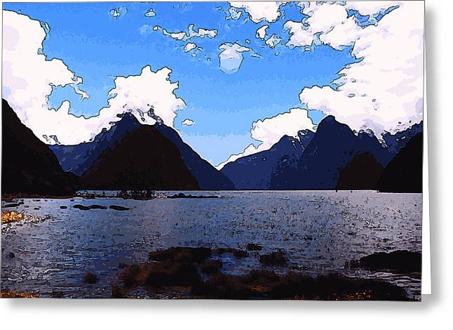 Kiwi Art Digital Art Greeting Cards - Marshy Fjord Greeting Card by Robert Pierce