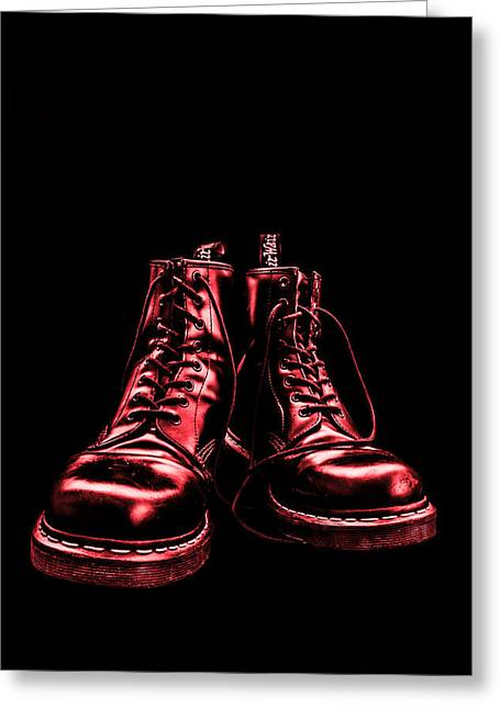 Provocation Greeting Cards - Martens - Red Greeting Card by Lubos Kavka