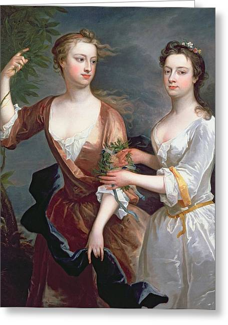 Theresa Greeting Cards - Martha And Teresa Blount, 1716 Oil On Canvas Greeting Card by Charles Jervas