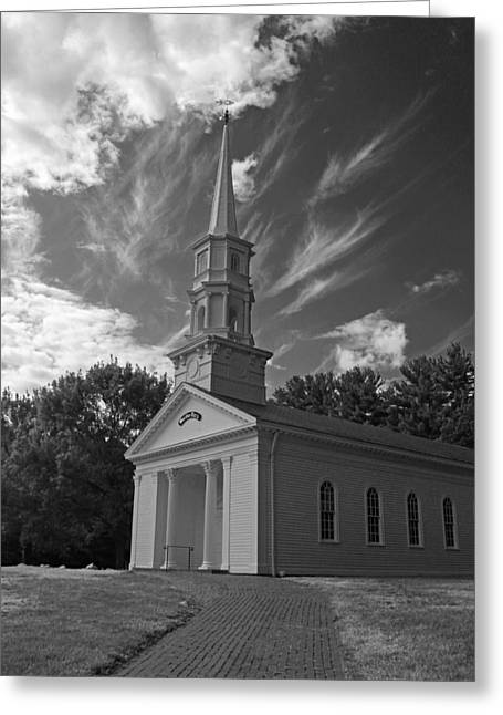 Martha Mary Chapel Greeting Cards - Martha Mary Chapel in Black and White Greeting Card by Suzanne Gaff