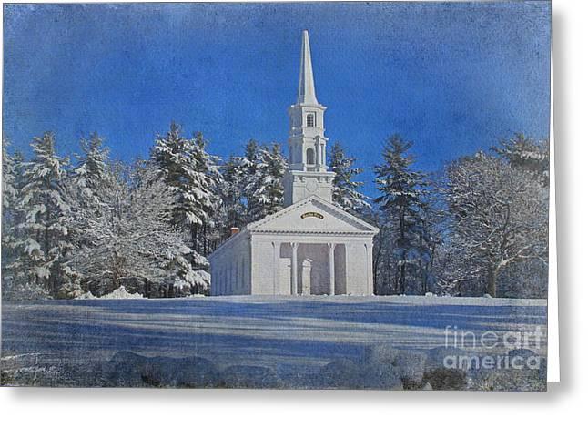 Sudbury Ma Digital Art Greeting Cards - Martha Mary Chapel in Winter Greeting Card by Jayne Carney