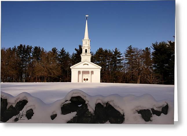 Martha Mary Chapel Greeting Cards - Martha-Mary Chapel Snowy Wall Greeting Card by Mark Valentine