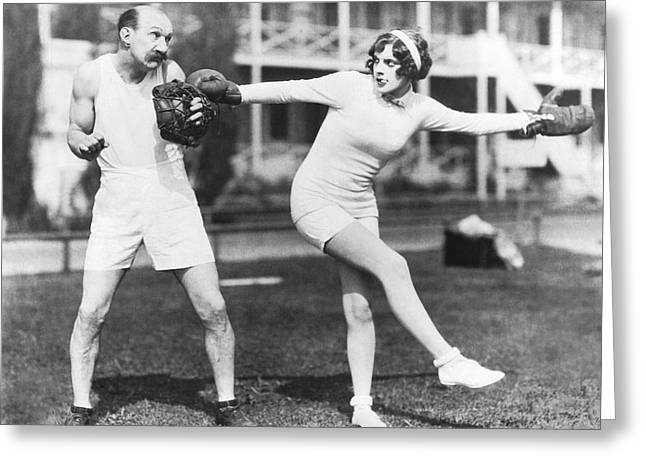 Sportswear Greeting Cards - Martha Sleeper Winds Up Greeting Card by Pathe Photo