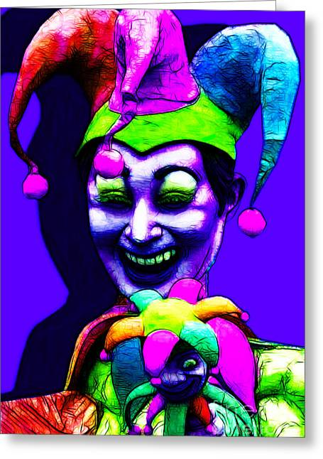 Jester Greeting Cards - Marti Gras Carnival Clown 20130129v3 Greeting Card by Wingsdomain Art and Photography