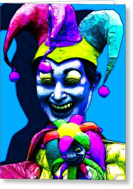 Jester Greeting Cards - Marti Gras Carnival Clown 20130129v4 Greeting Card by Wingsdomain Art and Photography