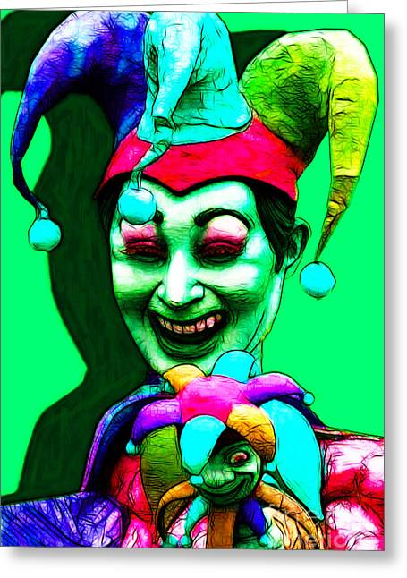 Jester Greeting Cards - Marti Gras Carnival Clown 20130129v5 Greeting Card by Wingsdomain Art and Photography