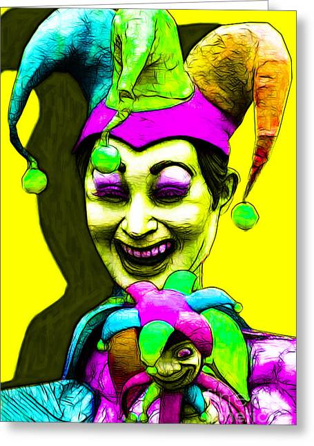 Jester Greeting Cards - Marti Gras Carnival Clown 20130129v6 Greeting Card by Wingsdomain Art and Photography