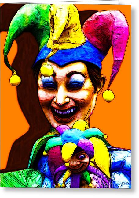 Jester Greeting Cards - Marti Gras Carnival Clown 20130129v7 Greeting Card by Wingsdomain Art and Photography