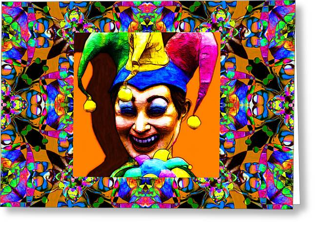 Jester Greeting Cards - Marti Gras Carnival Jester Abstract Window 20130129v1 Greeting Card by Wingsdomain Art and Photography