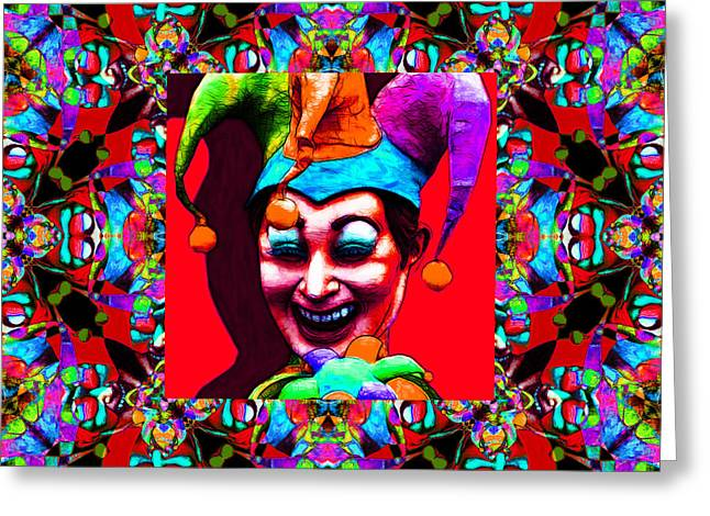 Jester Greeting Cards - Marti Gras Carnival Jester Abstract Window 20130129v2 Greeting Card by Wingsdomain Art and Photography