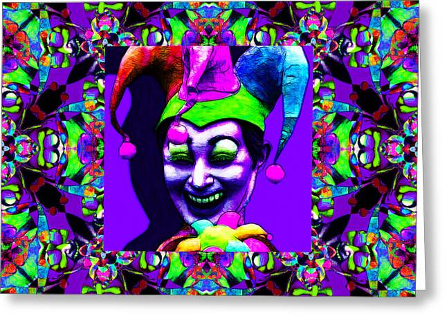 Jester Greeting Cards - Marti Gras Carnival Jester Abstract Window 20130129v4 Greeting Card by Wingsdomain Art and Photography