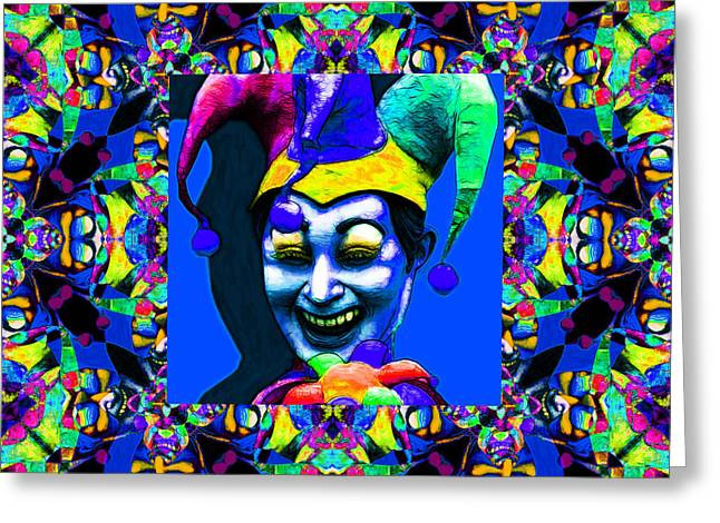 Jester Greeting Cards - Marti Gras Carnival Jester Abstract Window 20130129v5 Greeting Card by Wingsdomain Art and Photography