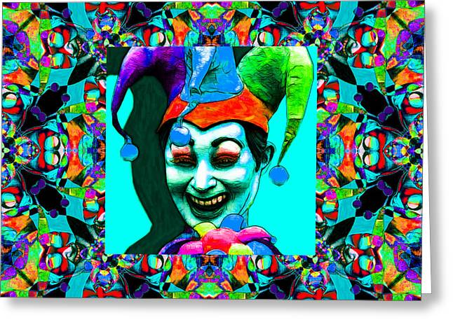 Jester Greeting Cards - Marti Gras Carnival Jester Abstract Window 20130129v6 Greeting Card by Wingsdomain Art and Photography