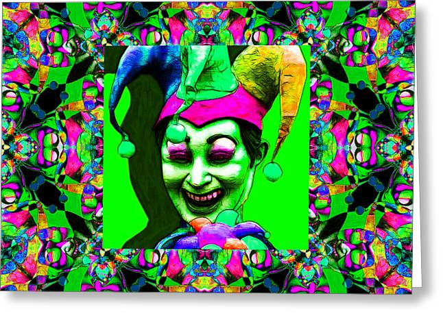 Jester Greeting Cards - Marti Gras Carnival Jester Abstract Window 20130129v7 Greeting Card by Wingsdomain Art and Photography