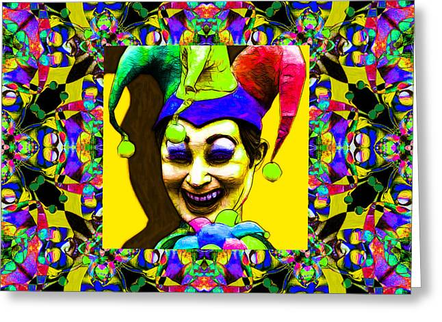 Jester Greeting Cards - Marti Gras Carnival Jester Abstract Window 20130129v8 Greeting Card by Wingsdomain Art and Photography