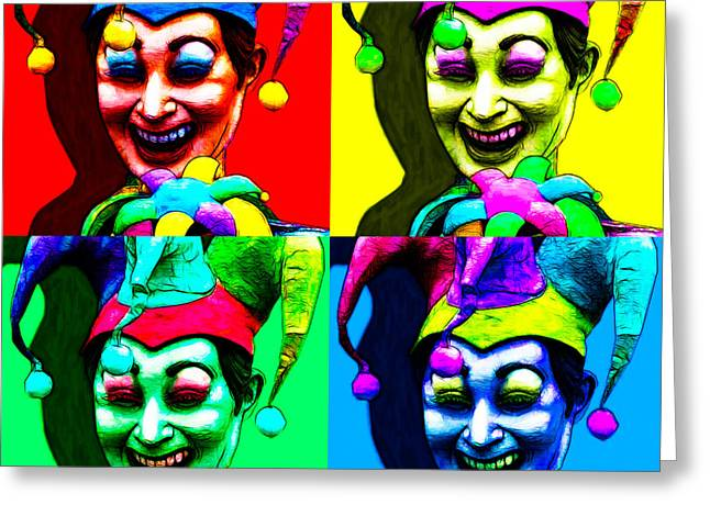 Jester Greeting Cards - Marti Gras Carnival Jester Four 20130129 Greeting Card by Wingsdomain Art and Photography