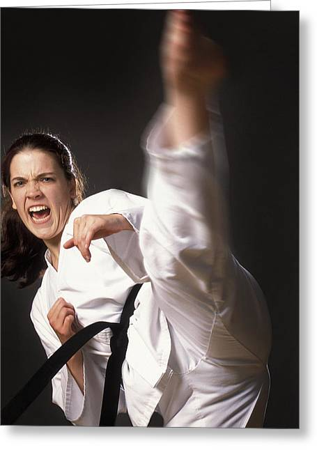 Self Confidence Greeting Cards - Martial Arts Kick Greeting Card by Don Hammond