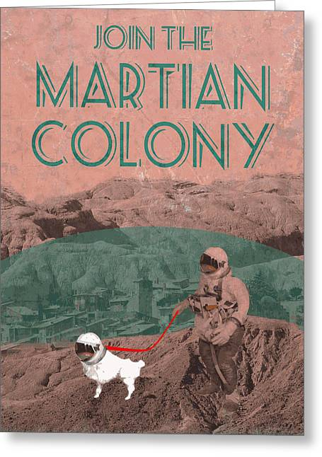 Dog Walking Digital Art Greeting Cards - Martian Colony Mars Travel Advertisement Greeting Card by