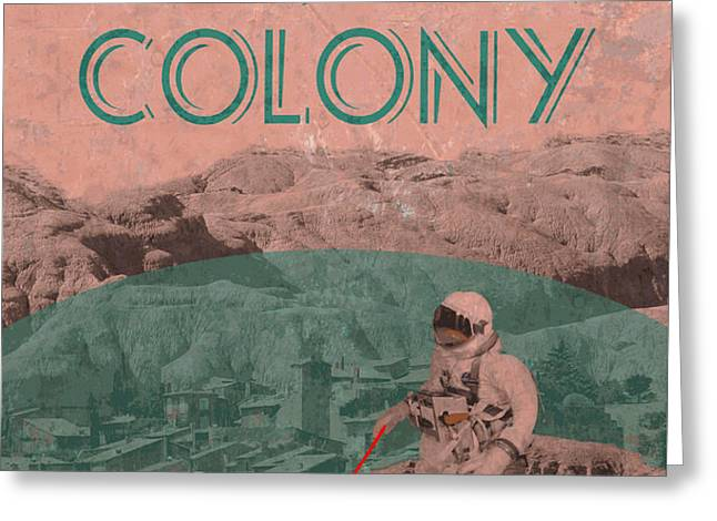 Martian Colony Mars Travel Advertisement Greeting Card by