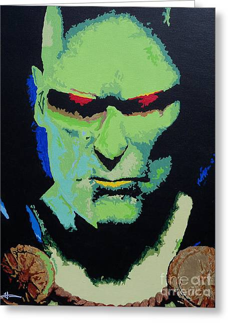 Martians Greeting Cards - Martian Manhunter - A Close Encounter Greeting Card by Kelly Hartman