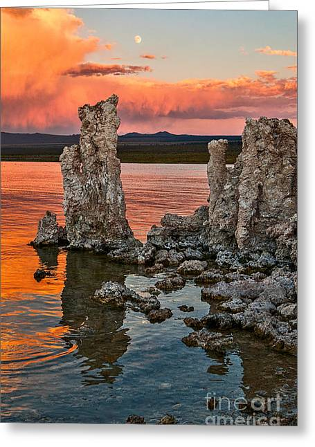 Moonrise Greeting Cards - Martian Moonrise - Sunset view of the strange Tufa Towers of Mono Lake with the moonrise. Greeting Card by Jamie Pham