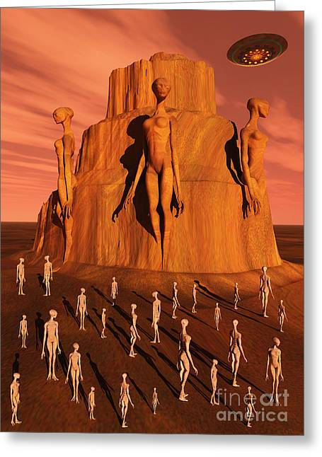 Lost Civilization Greeting Cards - Martians Gathering Around A Monument Greeting Card by Mark Stevenson