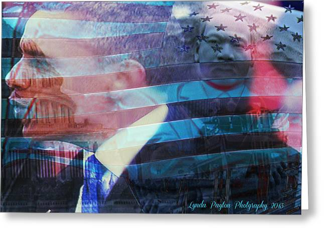 Martin and Obama Greeting Card by Lynda Payton