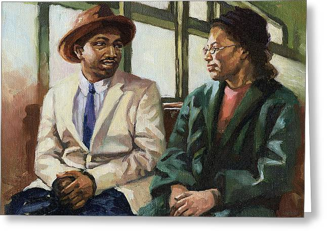 Civil Rights Paintings Greeting Cards - Martin and Rosa Up Front Greeting Card by Colin Bootman