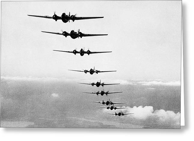 Martin B-10s In Formation Greeting Card by Underwood Archives