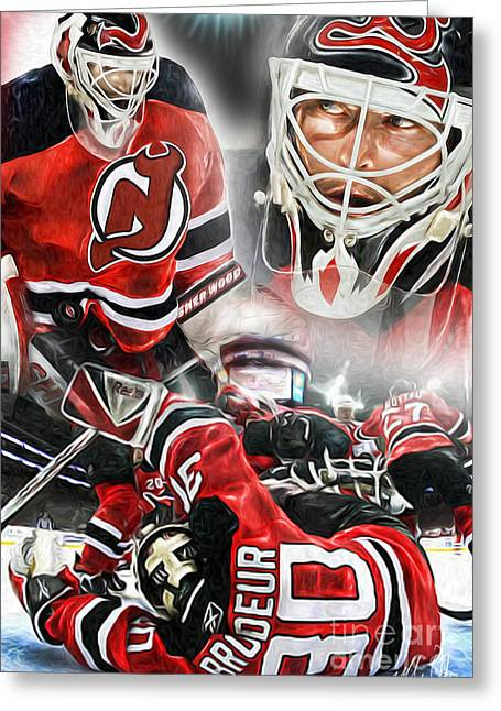 Goaltender Greeting Cards - Martin Brodeur collage Greeting Card by Mike Oulton