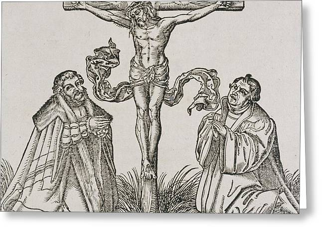 Frederick Drawings Greeting Cards - Martin Luther and Frederick III of Saxony kneeling before Christ on the Cross Greeting Card by German School