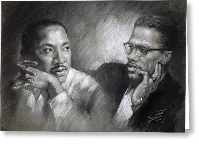 American Pastels Greeting Cards - Martin Luther King Jr and Malcolm X Greeting Card by Ylli Haruni