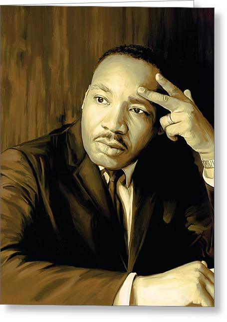 Civil Rights Greeting Cards - Martin Luther King Jr Artwork Greeting Card by Sheraz A