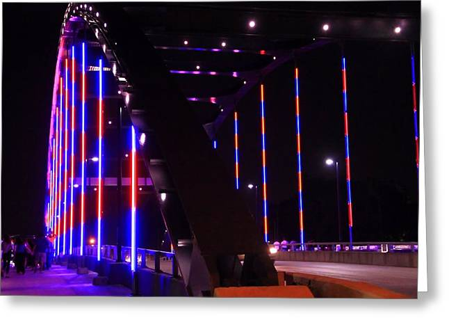 Indiana Photography Greeting Cards - Martin Luther King Jr Bridge Lit Up Greeting Card by Dan Sproul