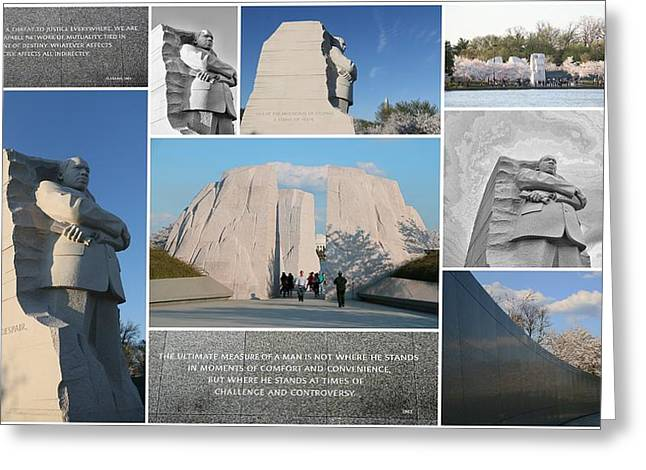 Engraving Greeting Cards - Martin Luther King Jr Memorial Collage 1 Greeting Card by Allen Beatty