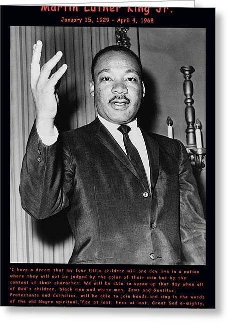 Dreams Free Greeting Cards - Martin Luther King Jr Greeting Card by Official Government Photograph