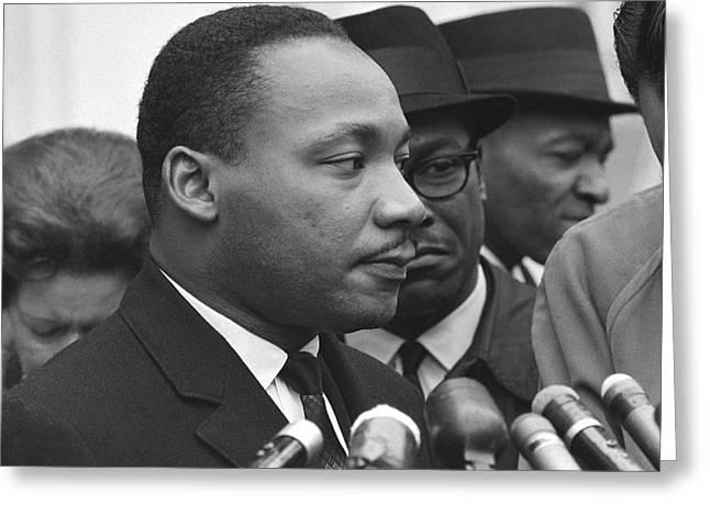 Press Conference Greeting Cards - Martin Luther King, Jr Greeting Card by Warren K. Leffler