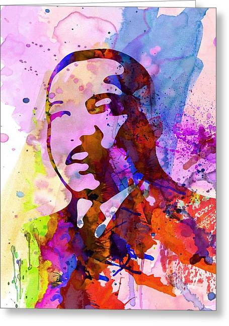 African-american Greeting Cards - Martin Luther King Jr Watercolor Greeting Card by Naxart Studio