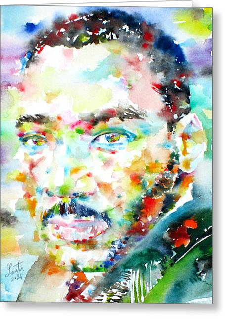 Pastor Greeting Cards - MARTIN LUTHER KING Jr. - watercolor portrait Greeting Card by Fabrizio Cassetta