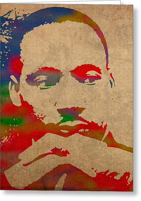 Martin Luther King Jr. Greeting Cards - Martin Luther King Jr Watercolor Portrait on Worn Distressed Canvas Greeting Card by Design Turnpike